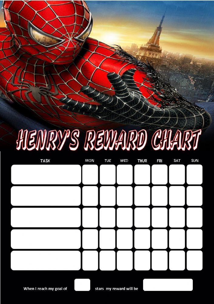 Personalised Spider Man Reward Chart Adding Photo Option